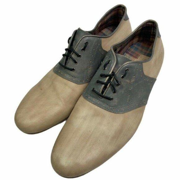 Bed Stu Mens Orleans Saddle Oxfords Shoes Beige 12
